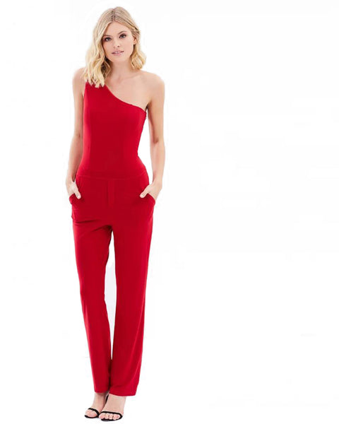 One Shoulder Pantsuit - Red