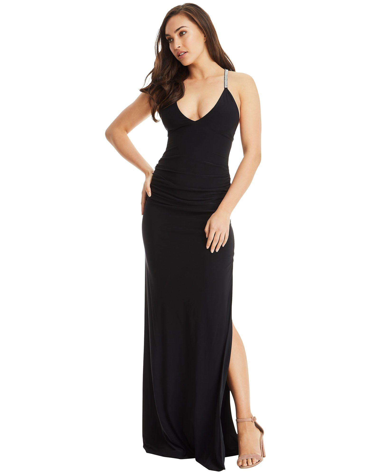 Cross Strap Evening Dress - Black