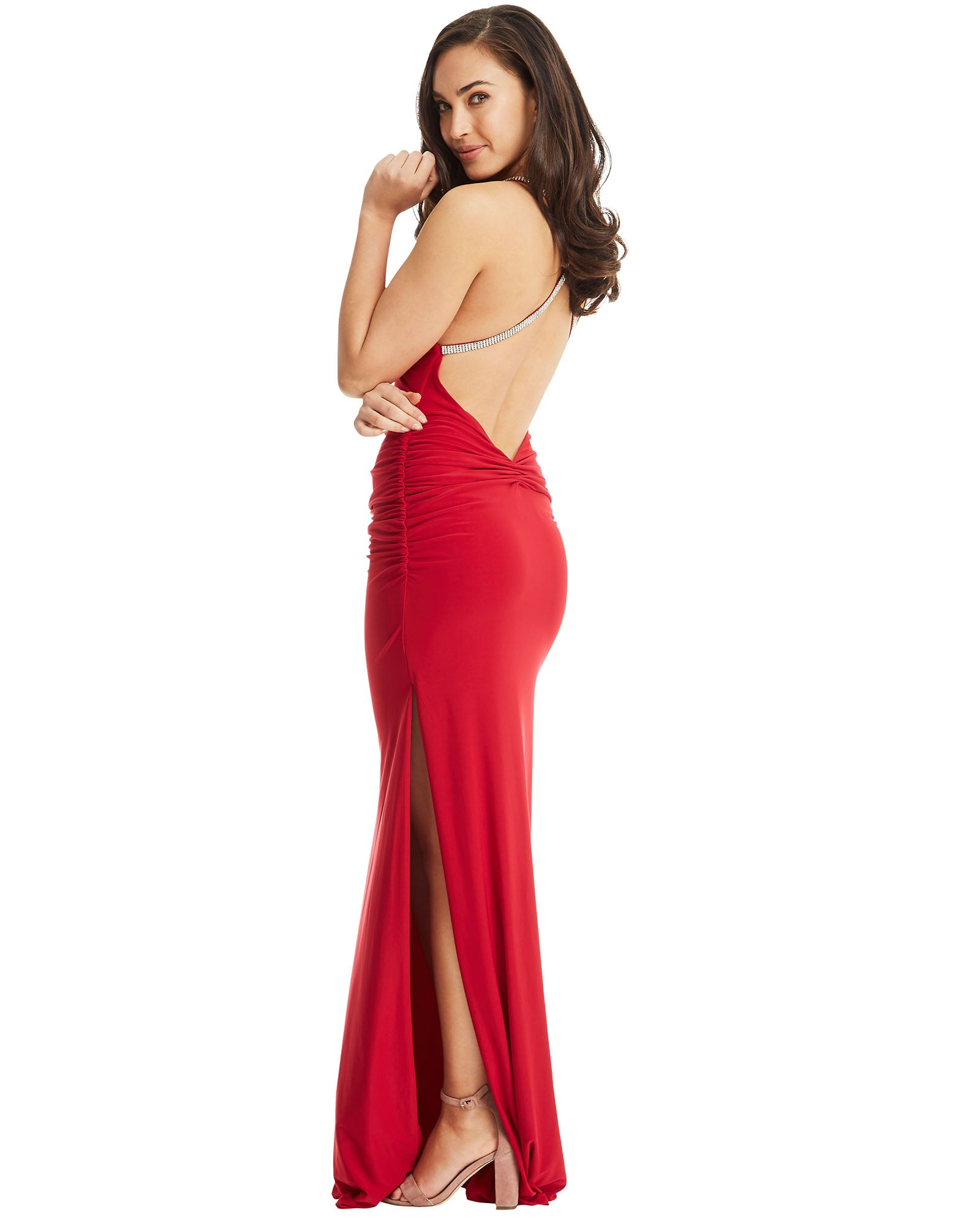 one shoulder evening dress long red strap split crystal jewels diamante