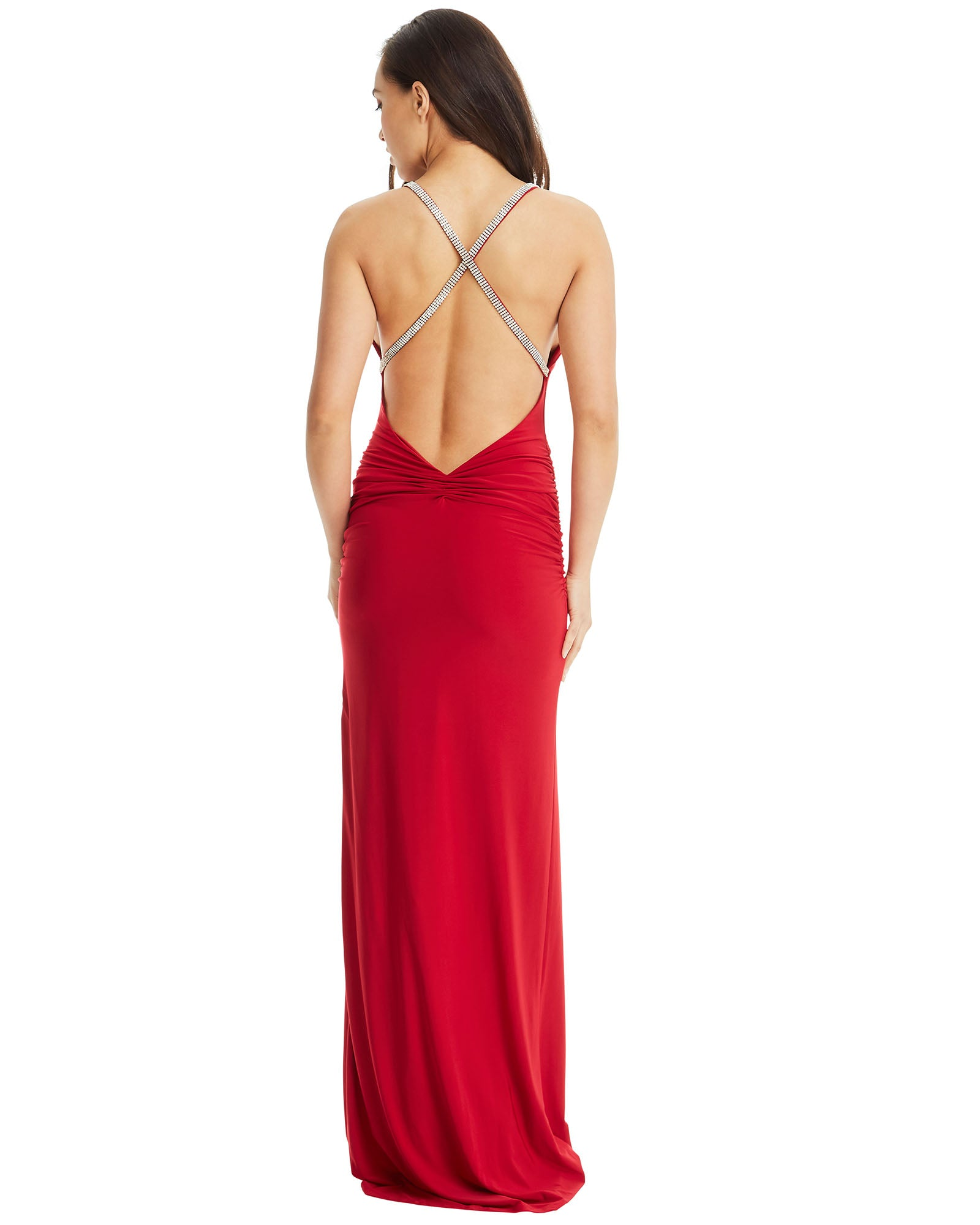 Cross Strap Evening Dress - Red