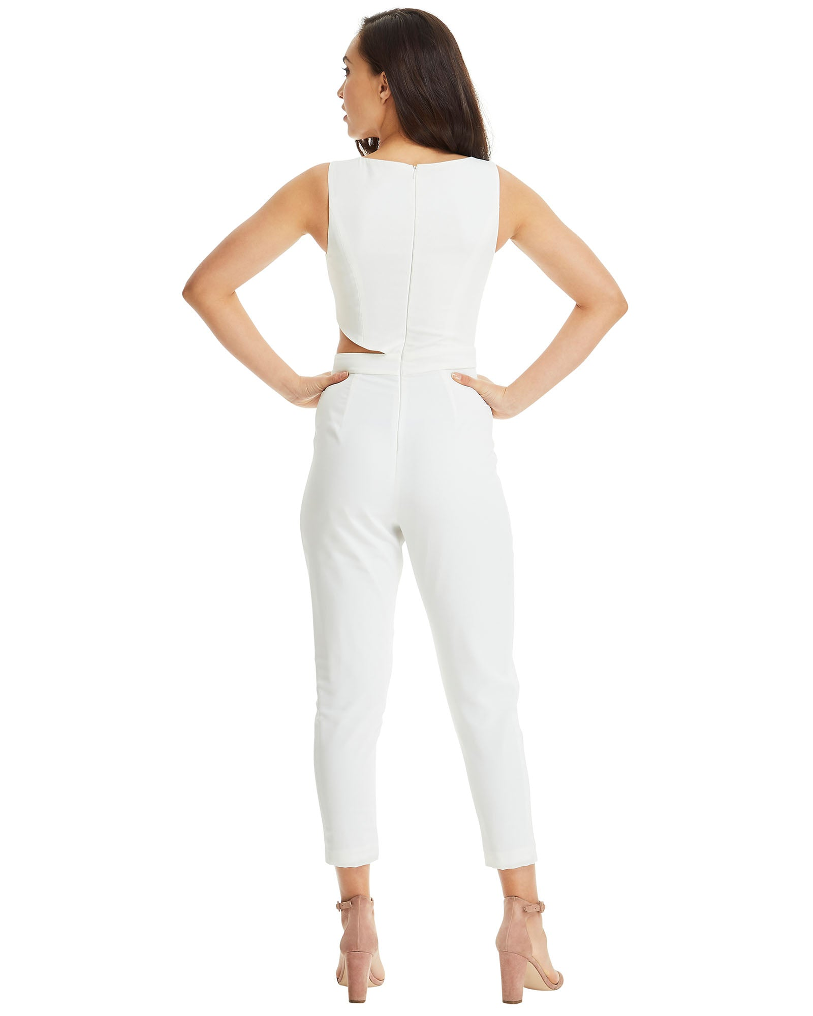 Jumpsuit with Side Cut Outs - White