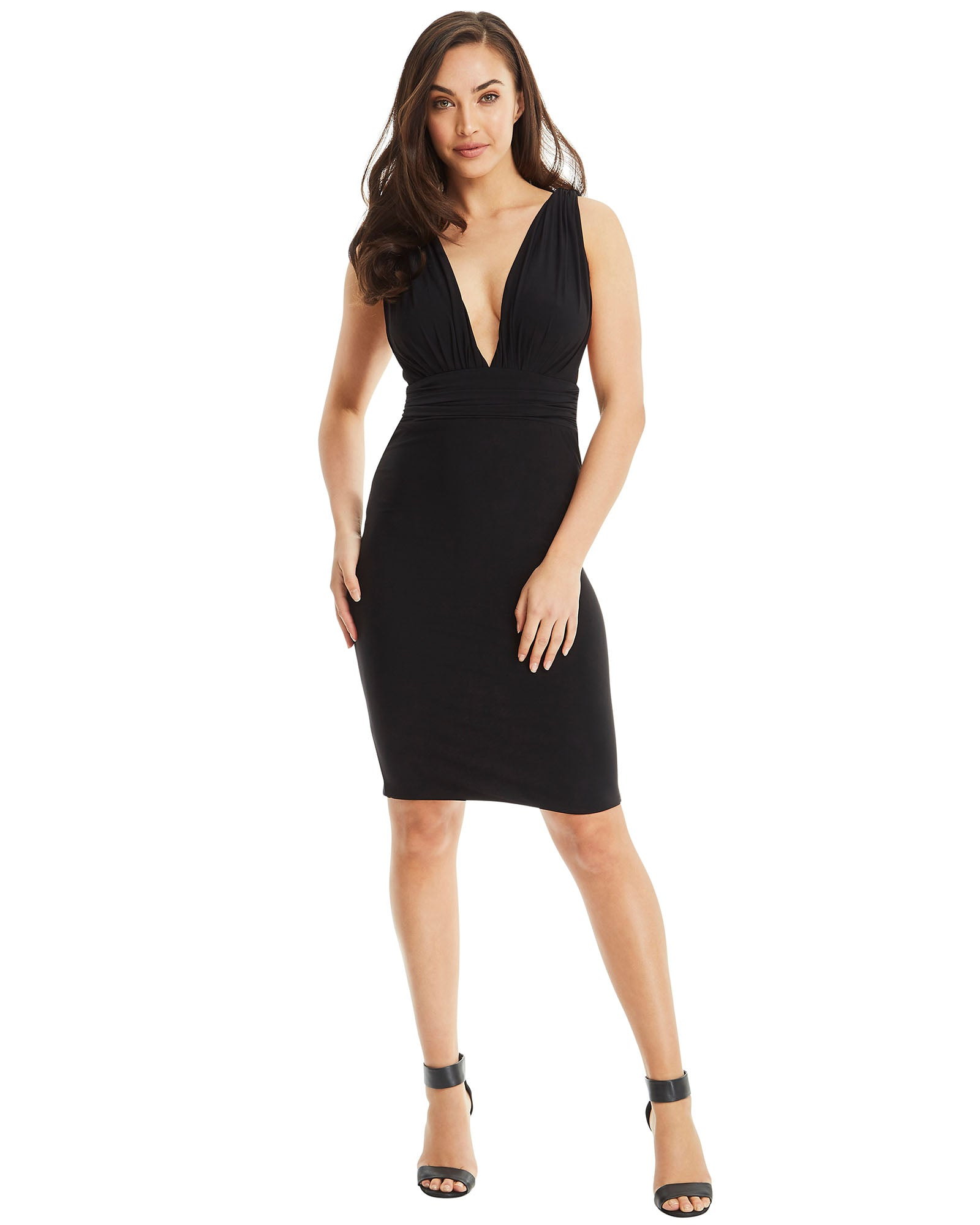 SKIVA cocktail dress black stretch fabric v neck open back shoulder straps zip pull on knee length midi party cocktail evening