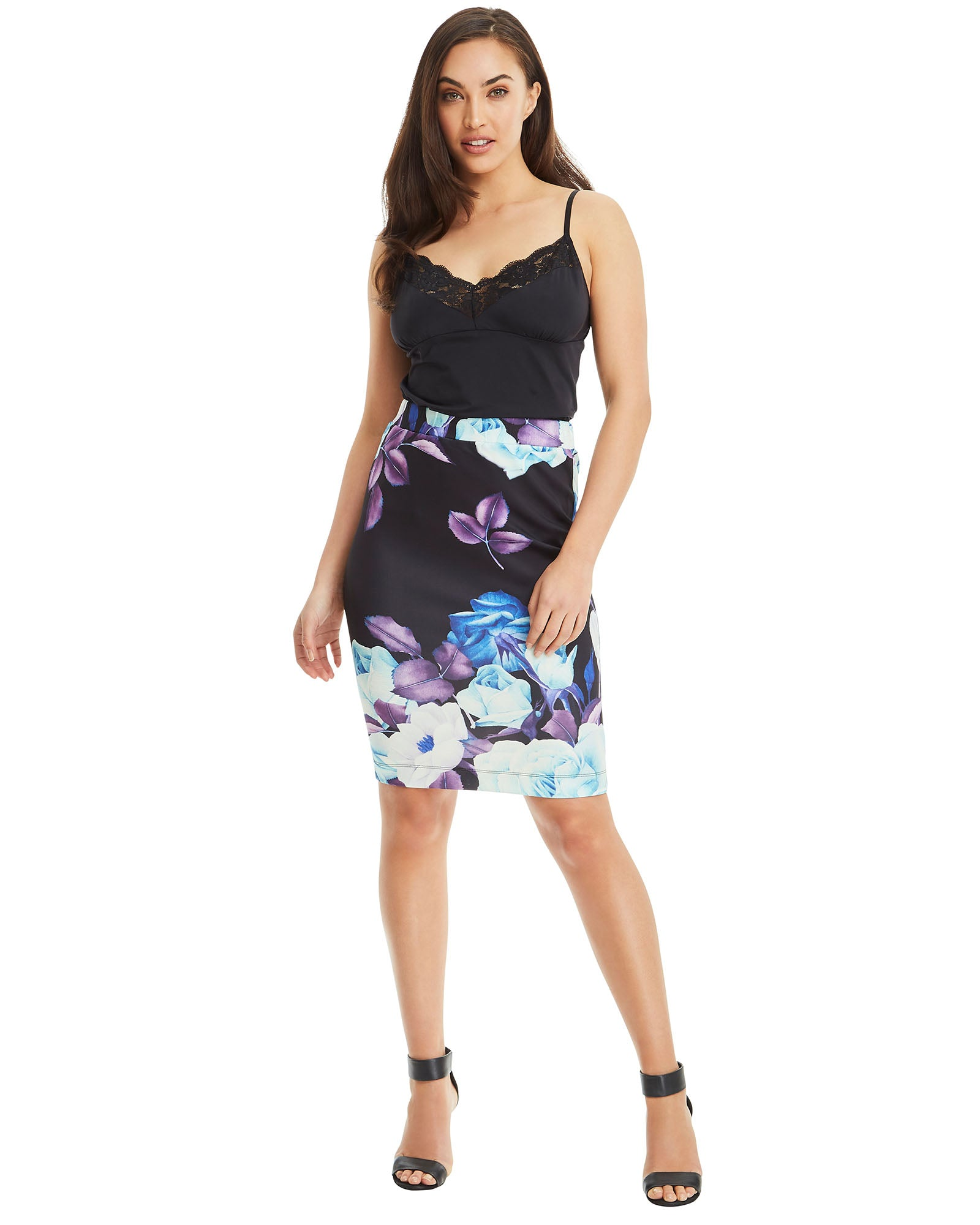 SKIVA pencil floral print skirt stretch fabric zipper fully lined elastane band slit work party cocktail body hugging