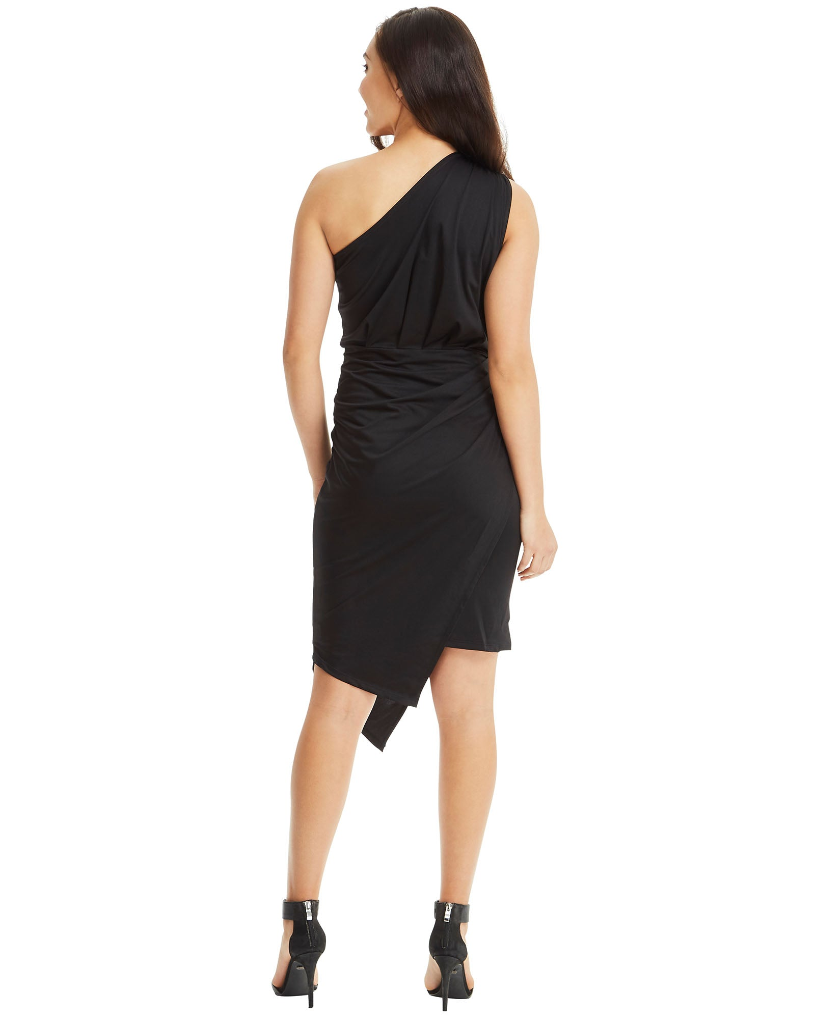 SKIVA one shoulder dress asymmetrical black stretch fabric slip on pull on knee length midi work party cocktail