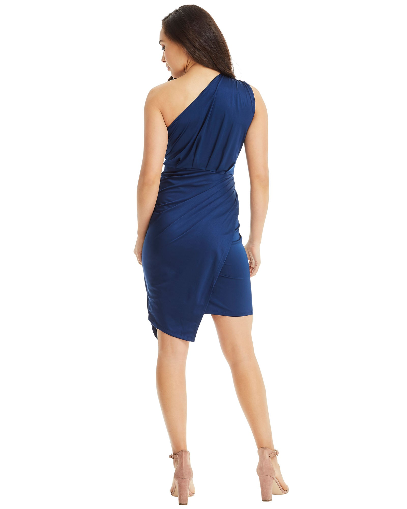 SKIVA one shoulder dress asymmetrical blue stretch fabric slip on pull on knee length midi work party cocktail