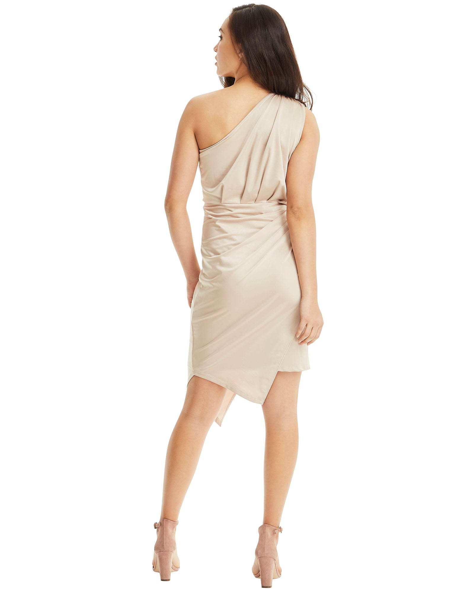 SKIVA one shoulder dress asymmetrical gold stretch fabric slip on pull on knee length midi work party cocktail