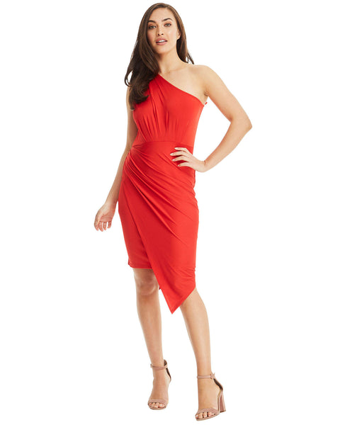 SKIVA one shoulder dress asymmetrical red stretch fabric slip on pull on knee length midi work party cocktail