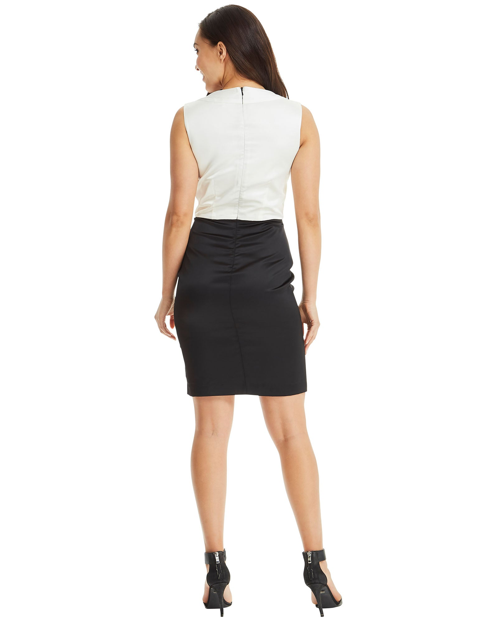 SKIVA cocktail dress black white v neck top folds shoulder straps zip knee length pencil skirt midi work party cocktail evening