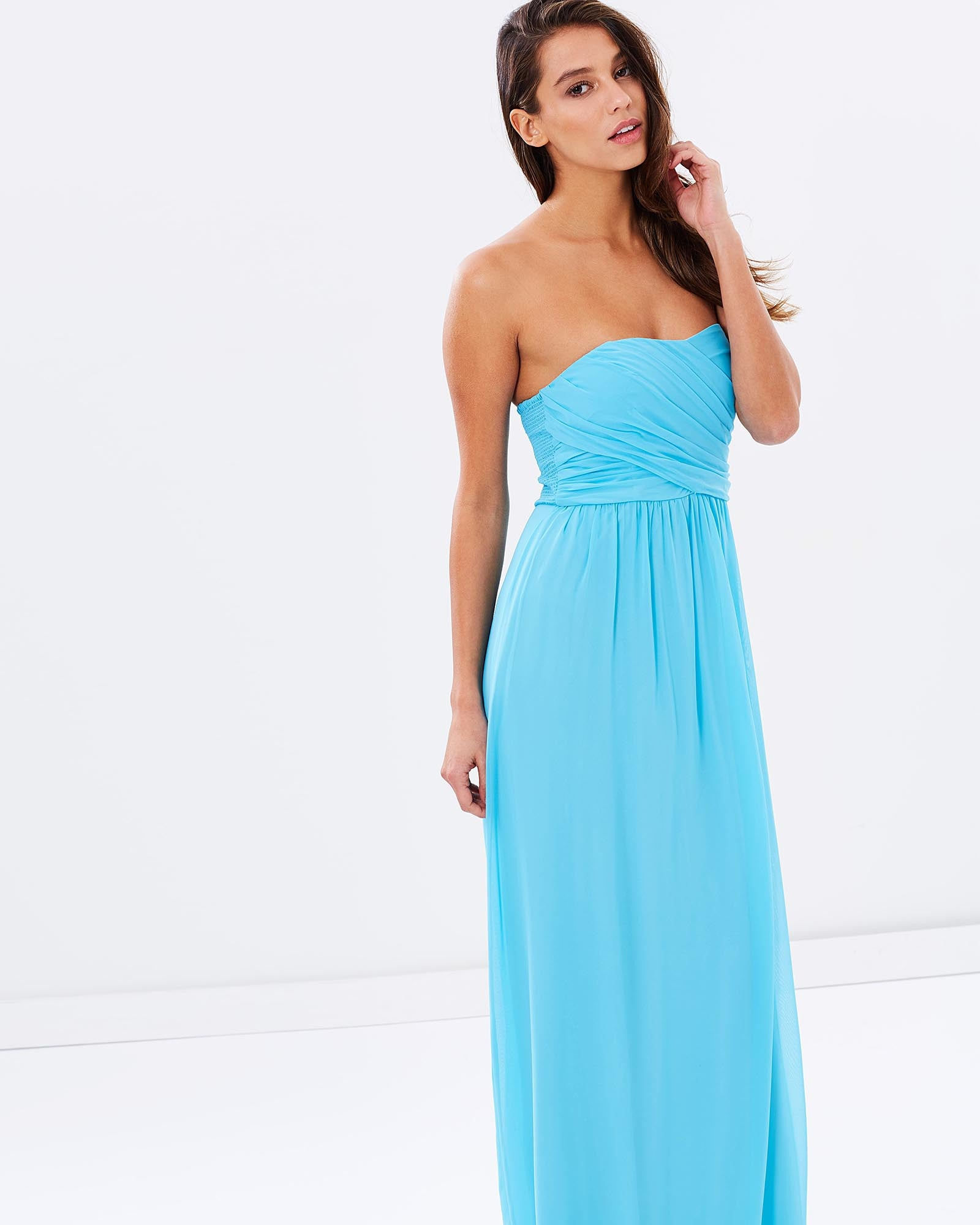 Strapless Chiffon Evening Dress - Light Blue