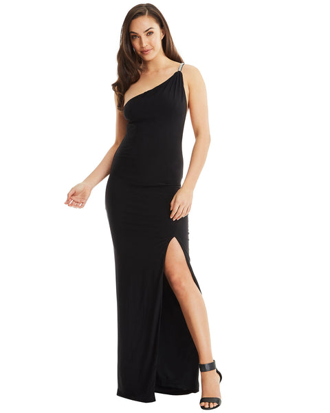 one shoulder evening dress long black strap split crystal jewels diamante