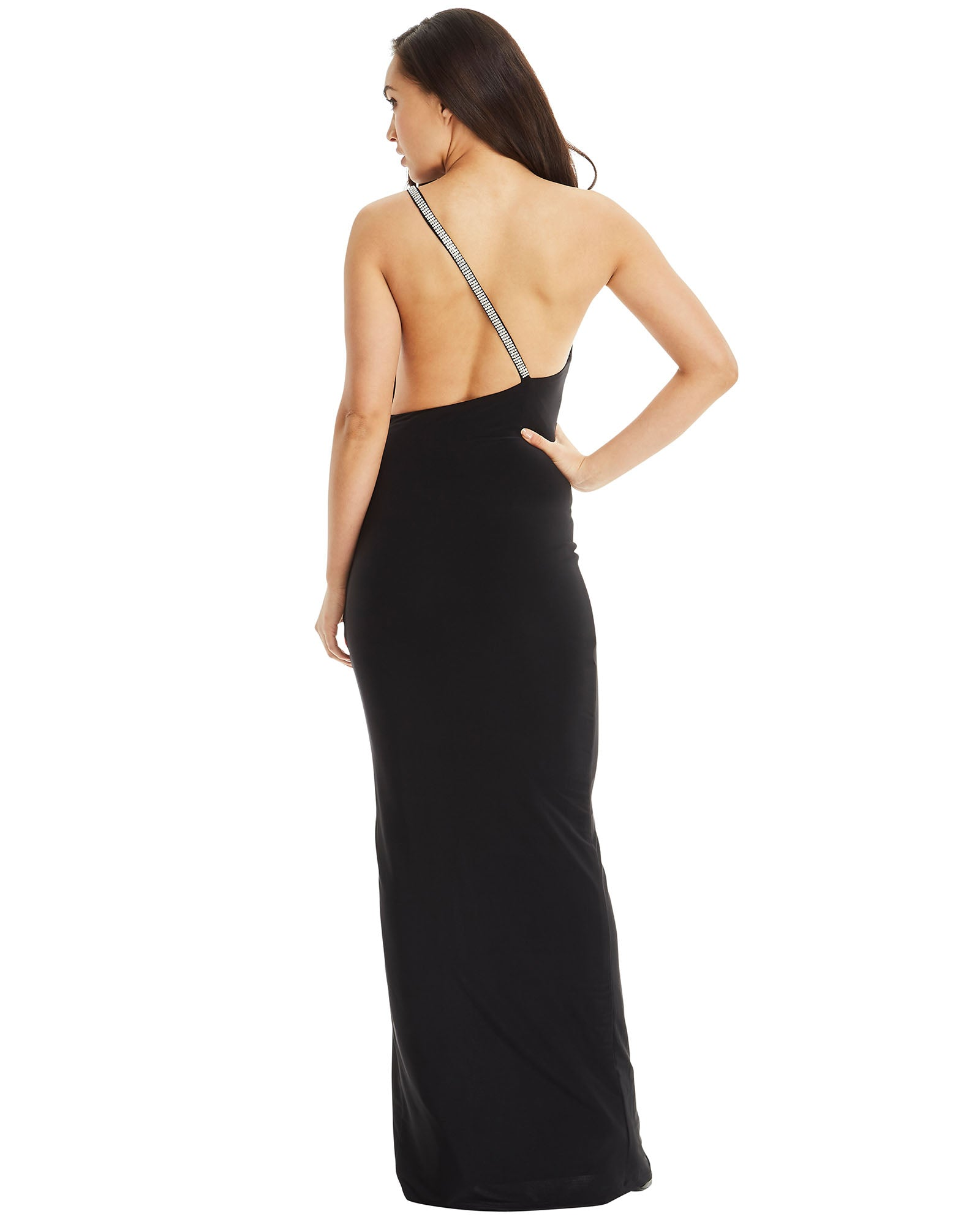 Crystal Jewel Strap Evening Dress - Black