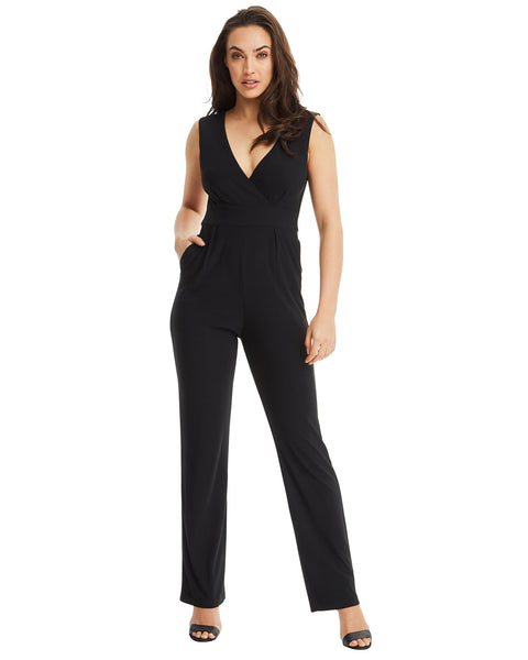 1cb1aa16eca4 SKIVA V neck jumpsuit pantsuit straps black stretch jersey fabric pockets  zipper fully lined