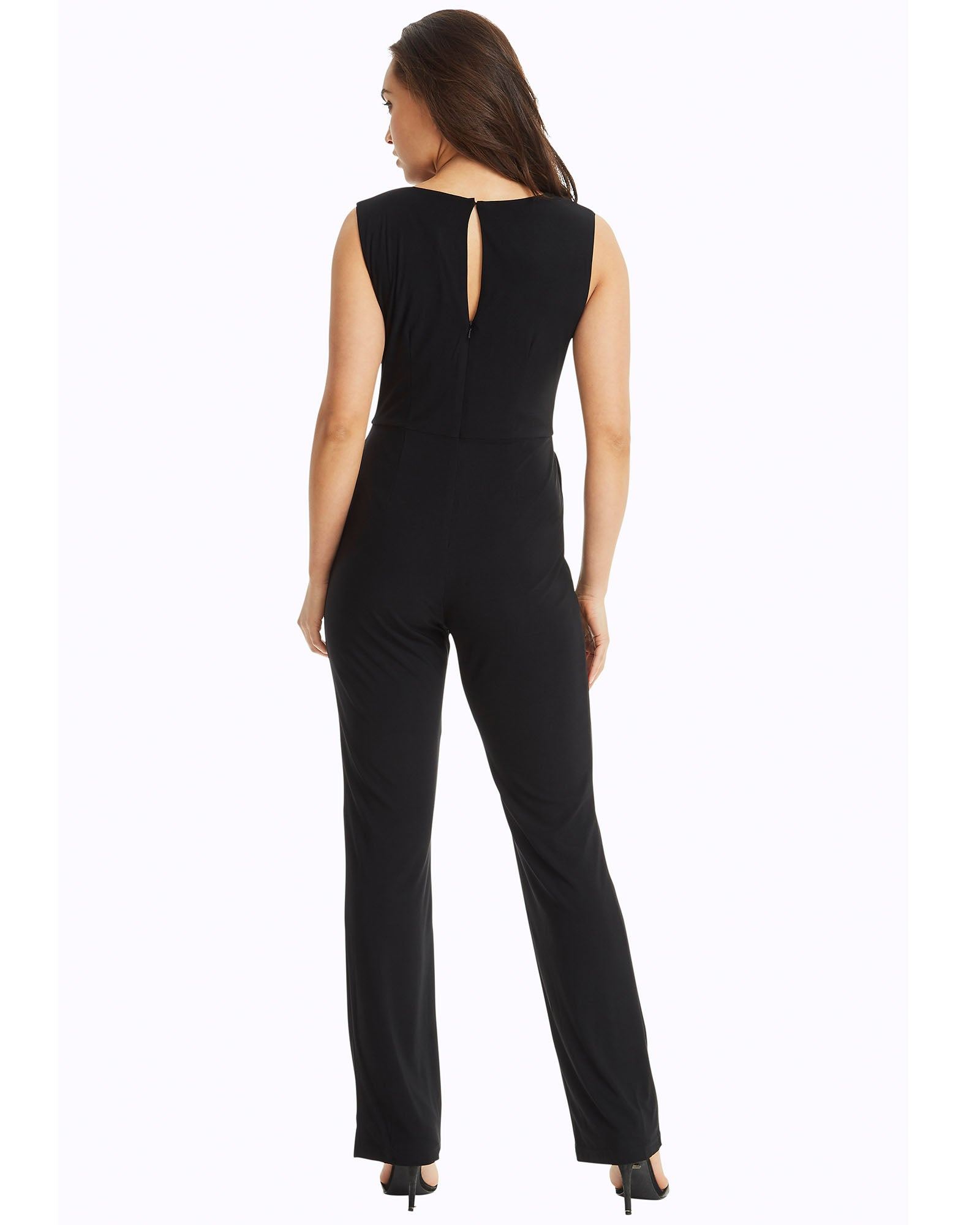 SKIVA V neck jumpsuit pantsuit straps black stretch jersey  fabric pockets zipper fully lined