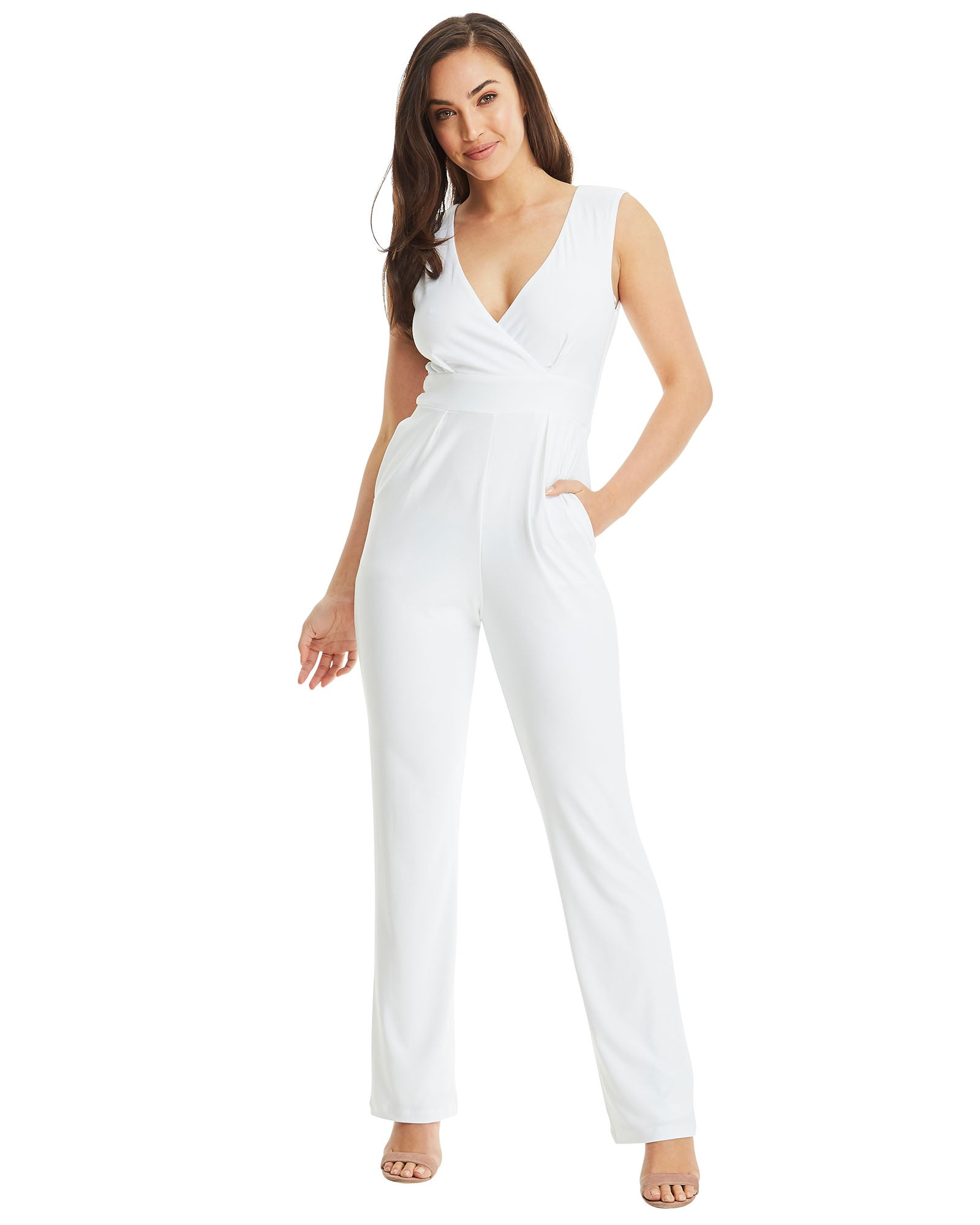 b9527bcd8c73 V Neck Jumpsuit - White – SKIVA Clothing