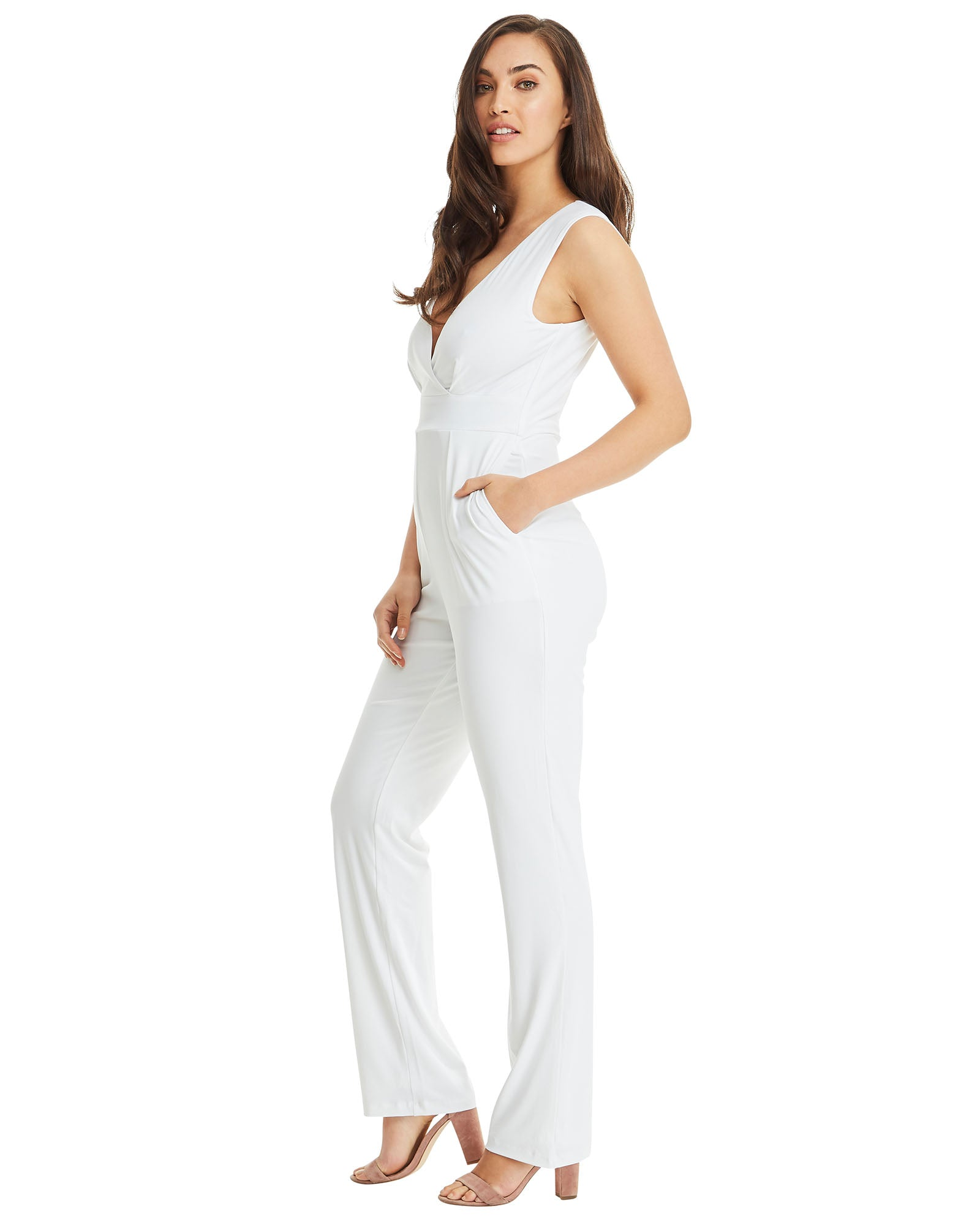 SKIVA V neck jumpsuit pantsuit straps white stretch jersey  fabric pockets zipper fully lined