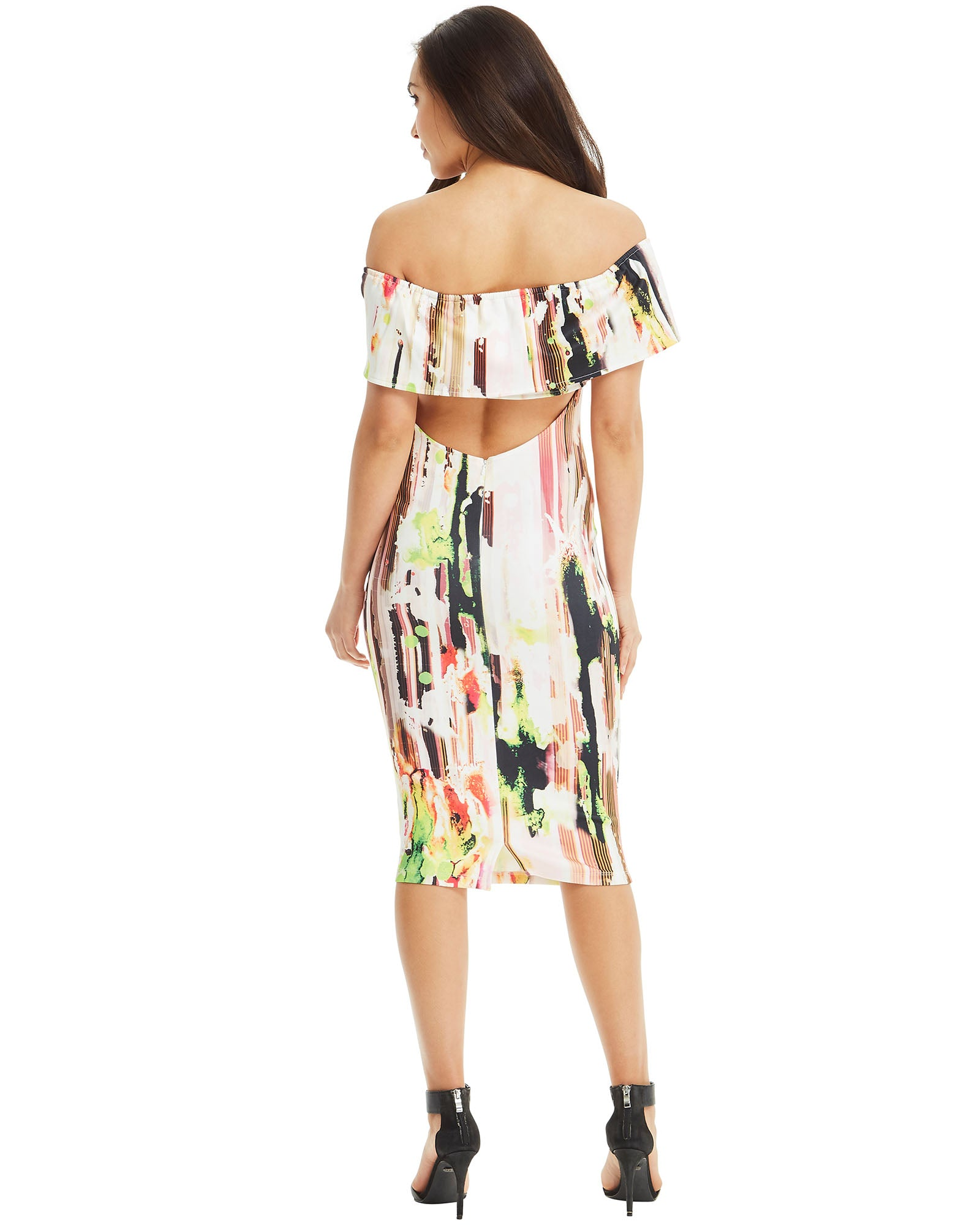 SKIVA multi abstract print off shoulder dress strapless stretch fabric zipper knee length midi elastane band slit work party cocktail body hugging