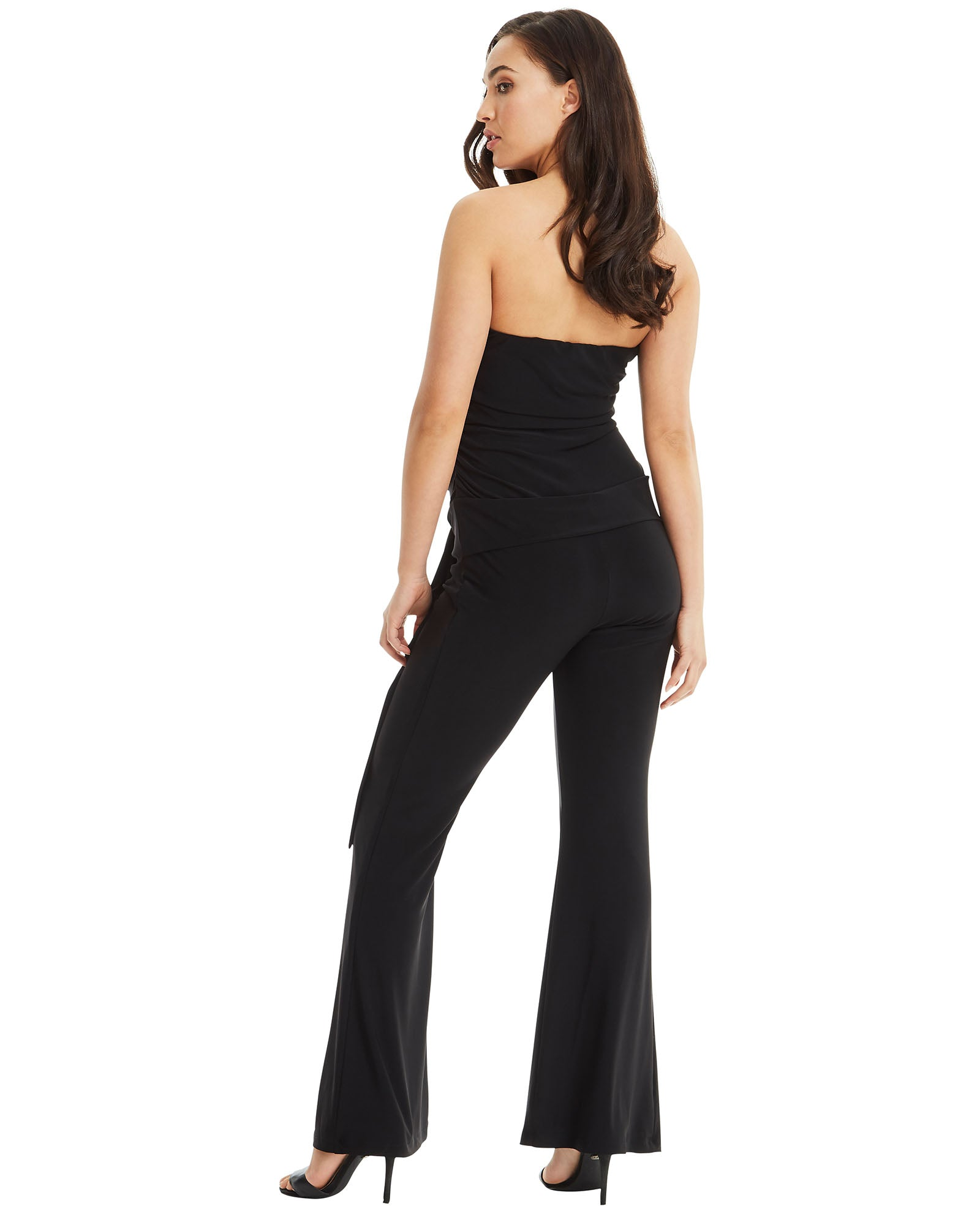 SKIVA strapless jumpsuit pantsuit black gold buckle stretch jersey elastane fabric fully lined