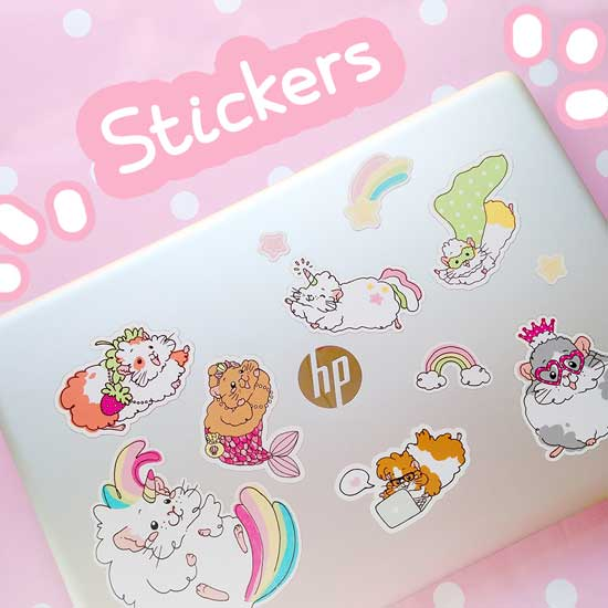 Photo of Laptop Decorated with Kawaii Guinea Pig Stickers