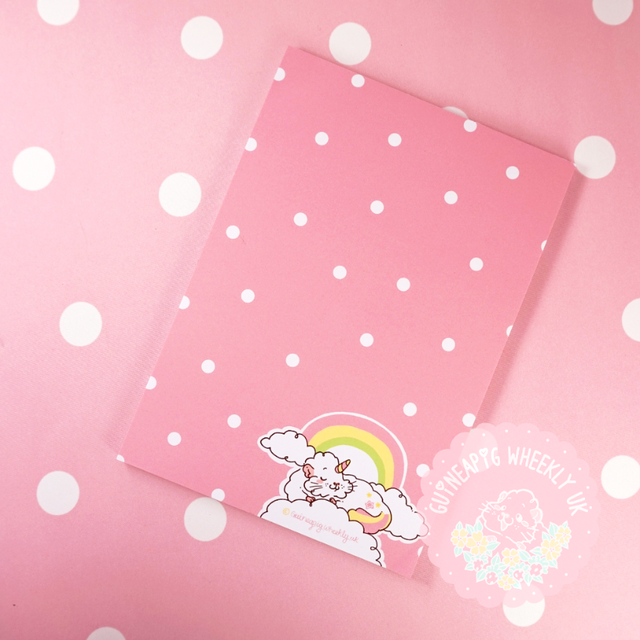 Clouds & Rainbows Guinea pig Note Paper Pad  Stationery A5 Journal - Guineapig Wheekly UK