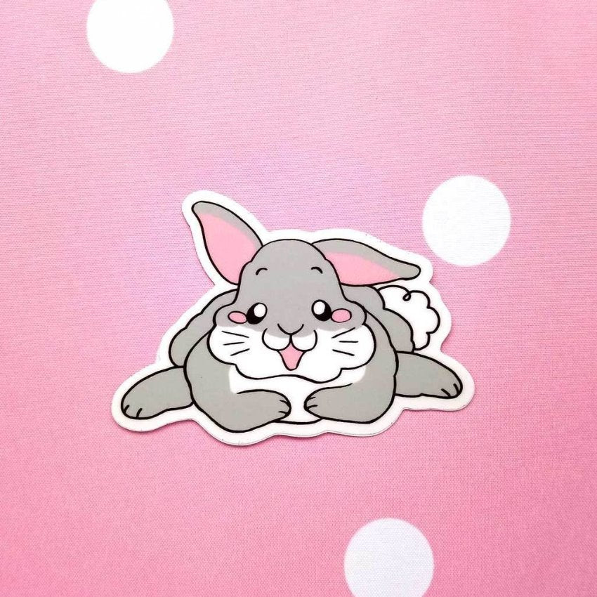 Floppy Earred Rabbit Grey Bunny Guinea Pig Vinyl Sticker - Guineapig Wheekly UK