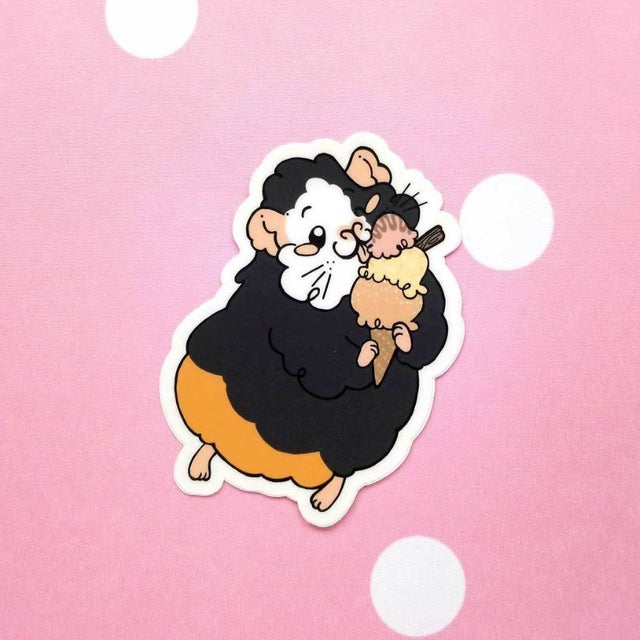 Ice cream Petal Guinea Pig Vinyl Sticker - Guineapig Wheekly UK