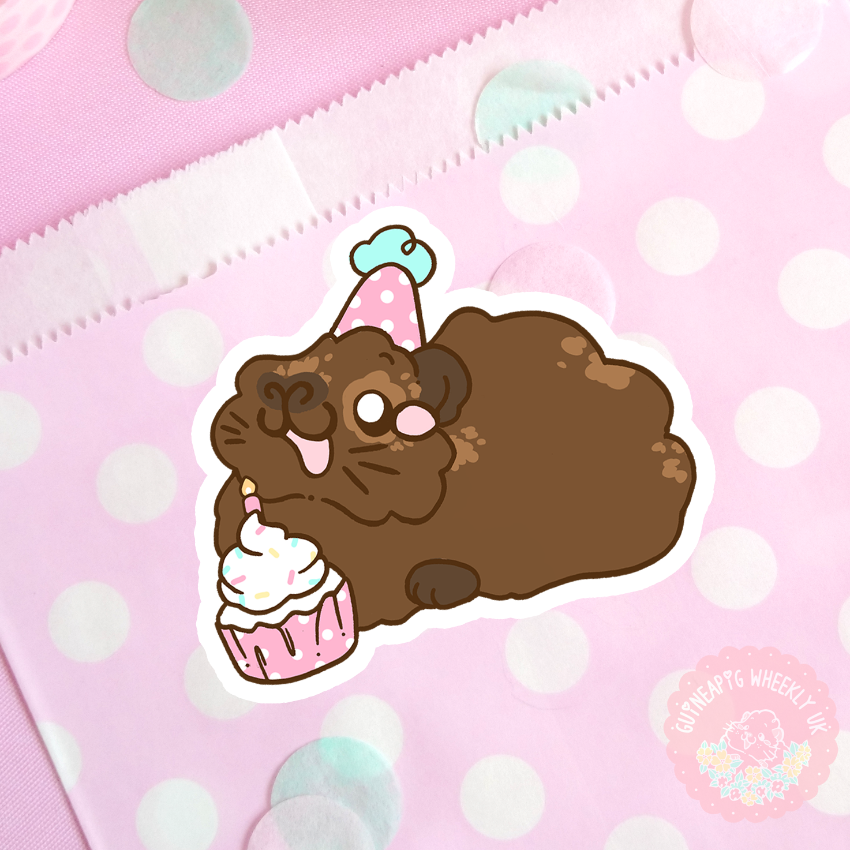 Birthday Agouti Guinea Pig vinyl sticker