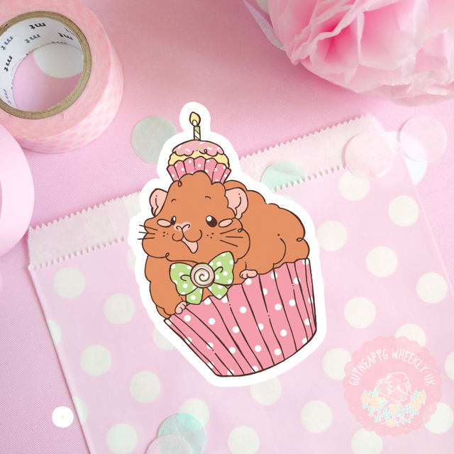 Cupcake Birthday Guinea Pig Vinyl Sticker