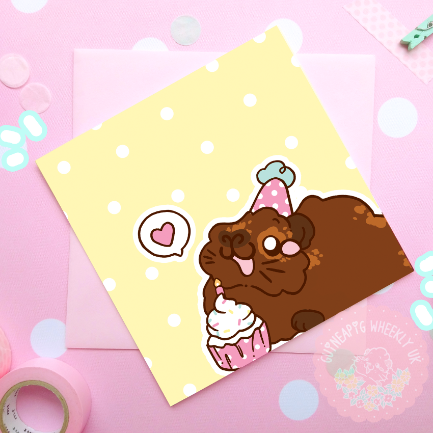 Happy Birthday Card Agouti Guinea Pig