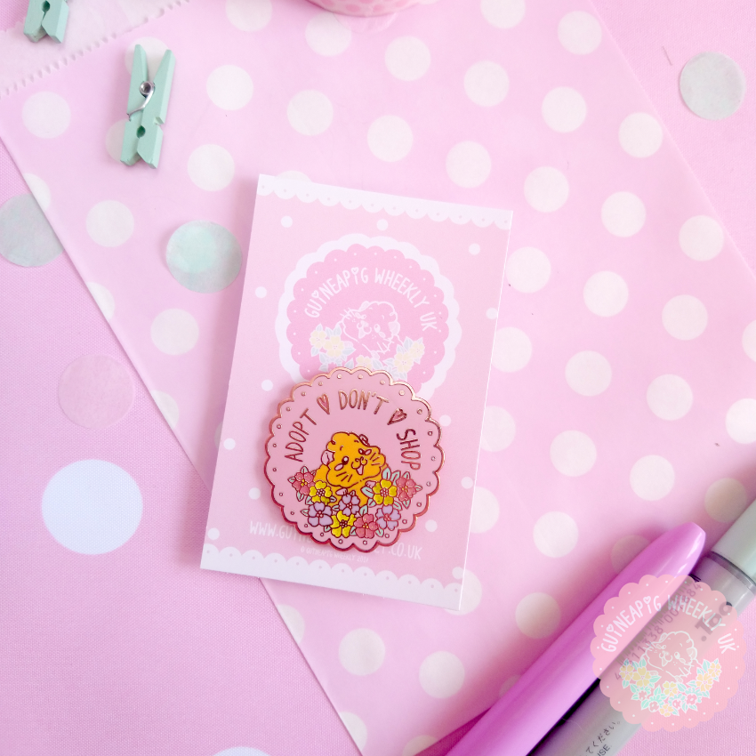 Pink Adopt don't shop Charity Glitter Guinea Pig Rose Gold Enamel Pin - Guineapig Wheekly UK