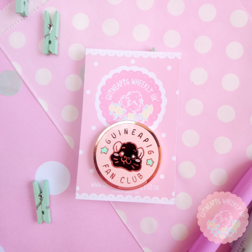 Pink Guinea Pig Fan Club Hard Enamel Pin - Guineapig Wheekly UK