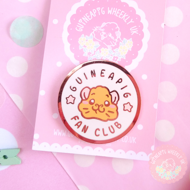 White Guinea Pig Fan Club Hard Enamel Pin - Guineapig Wheekly UK