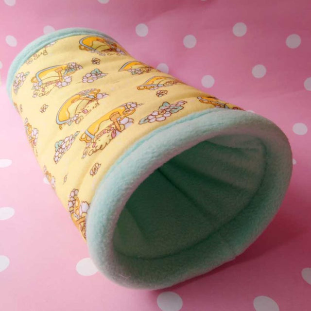 Guinea Pig Fleece Tunnel in Yellow and Mint Green with Honey Guinea Pig Design
