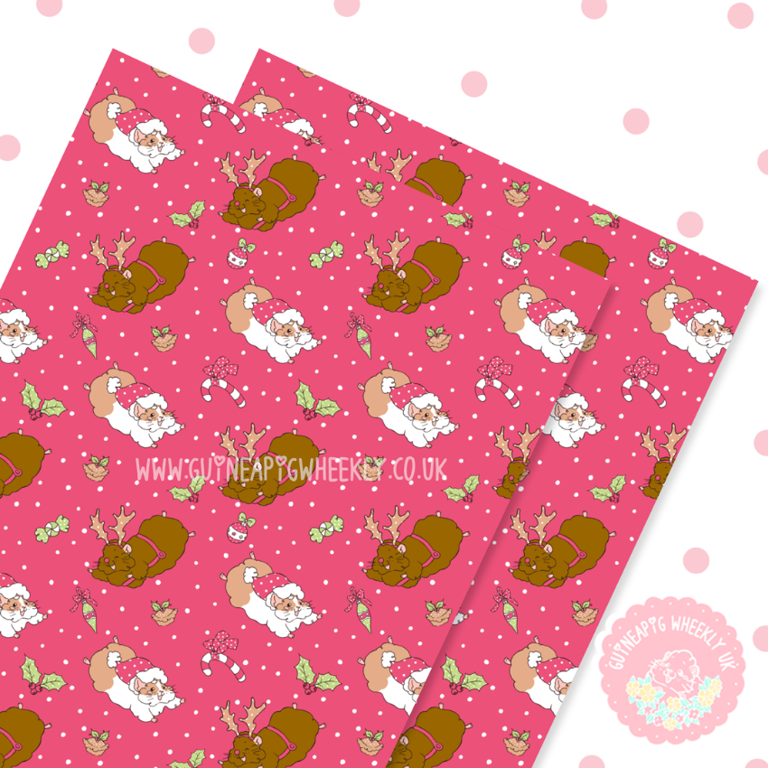 Christmas Santa Guineapig Wrapping Paper Sheets Set