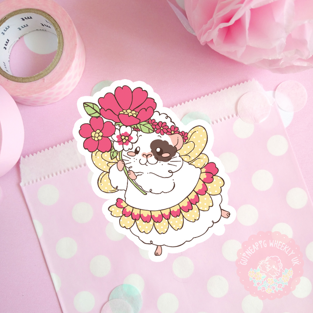 Fairy Guinea Pig Vinyl Sticker