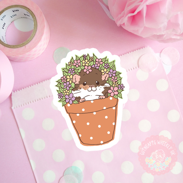 Flower Pot Guinea Pig Sticker