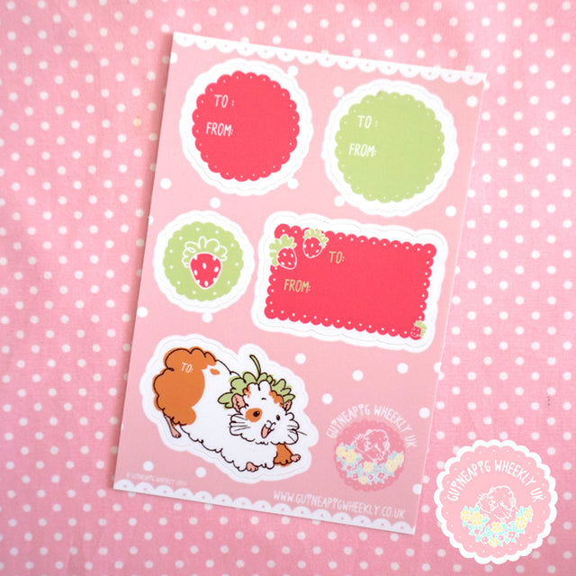 Guinea Pig Gift Label Sticker Sheet