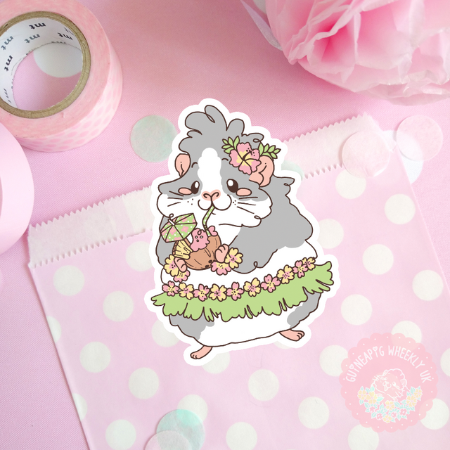 Hawaii Hula Guinea Pig Vinyl Sticker