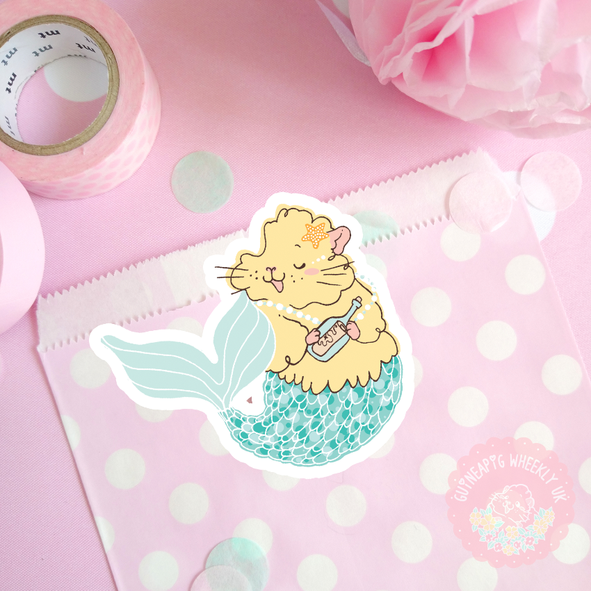 Yellow Mermaid Guinea Pig Sticker