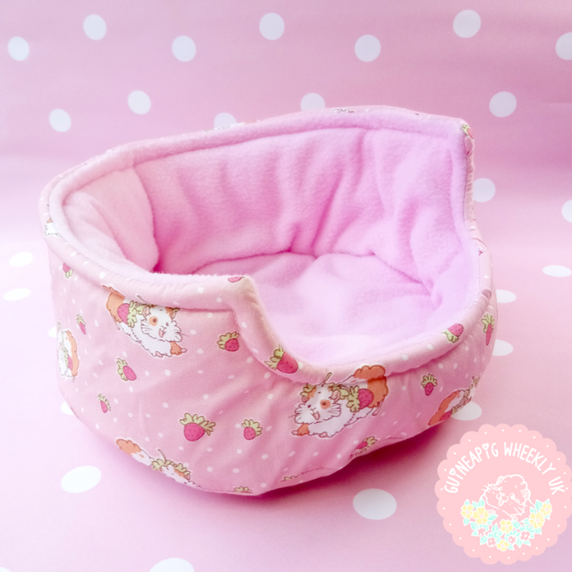 *New back in store* Strawberry Cuddle Cup Guinea Pig Bed - Guineapig Wheekly UK