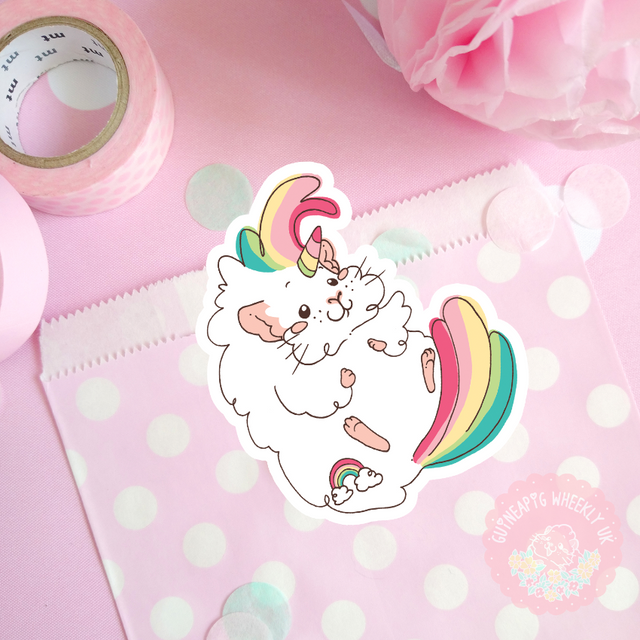 Rainbow Unicorn Guineapig Vinyl Sticker
