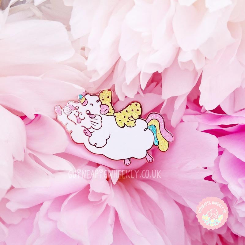 Unicorn Glitter Guinea Pig Rose Gold Enamel Pin - Guineapig Wheekly UK