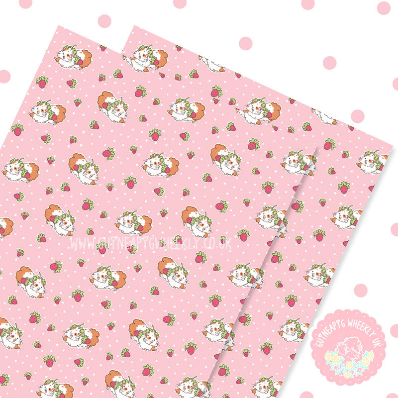 Strawberry Guineapig Wrapping Paper Sheets Set