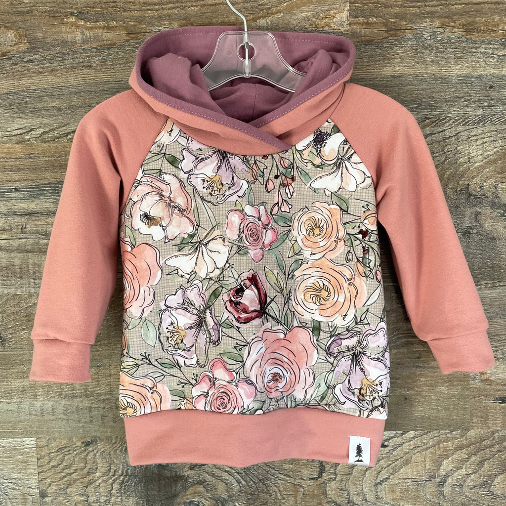 Dusty Pink Watercolour Floral Bamboo Hoodie