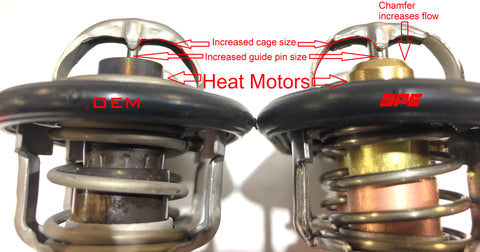 OEM Thermostat VS SPE 6.7L Powerstroke Low Temp High Flow Thermostat