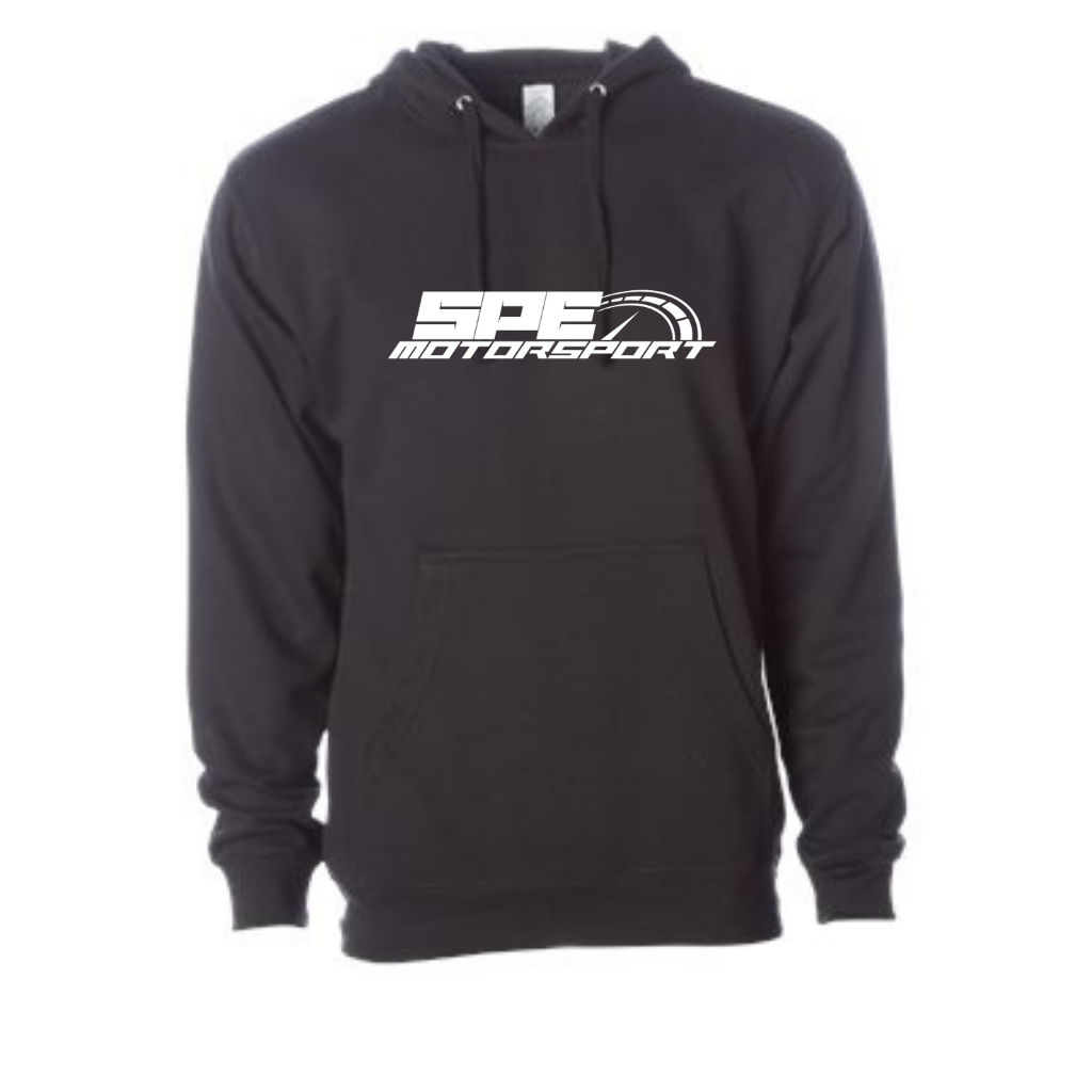 Black Midweight SPE Motorsport Pull Over Hoodie- Front
