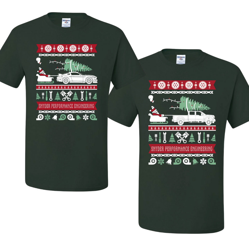 "Ugly Christmas ""Sweater"" T-Shirt- Mustang & Truck"