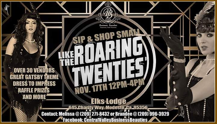 Join us! Sip & Shop Roaring 20's at The Elks Lodge in Modesto, CA on November 17, 2019