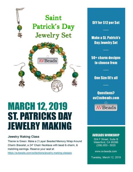 Saint Patrick's Day Jewelry Making Class Tuesday March 12, 2019