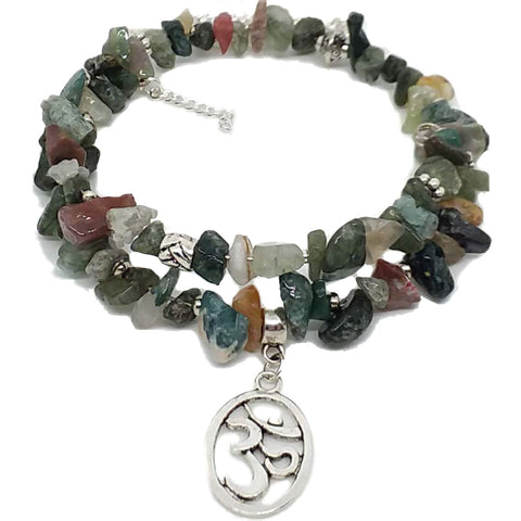 AVBeads Pagan Beaded Gemstone Chip Charm Bracelet Earring Necklace Jewelry Set 101