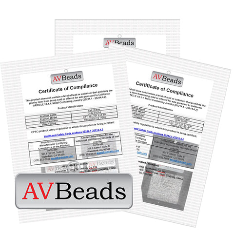 AVBeads California Metal-Containing Jewelry Law Compliance Certificates